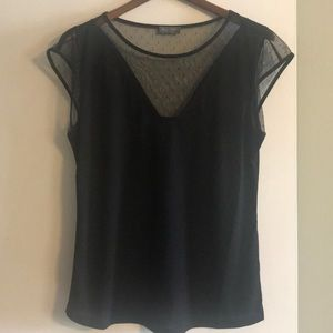 Black Top with sheer sleeves/neck